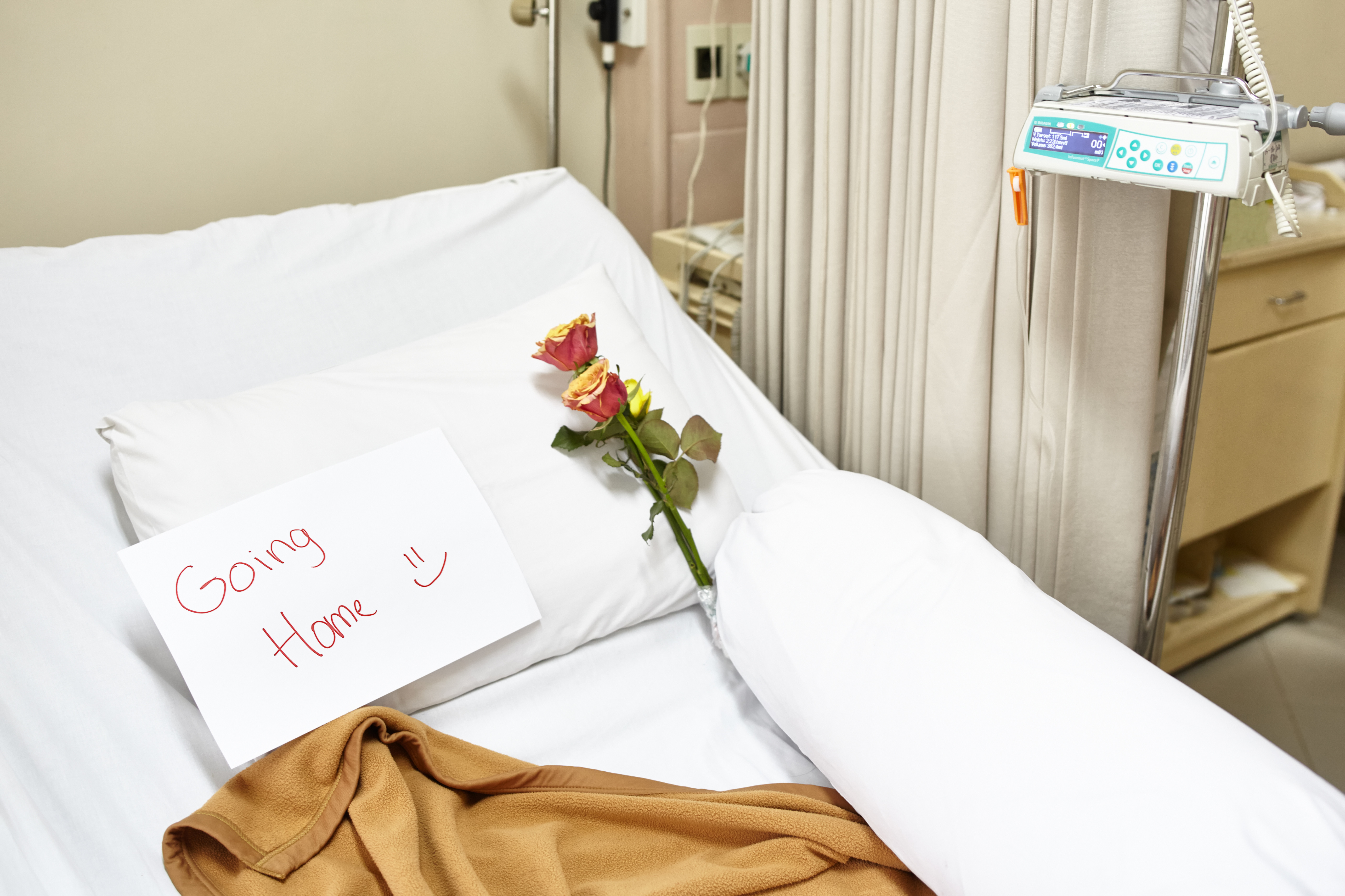 hospital bed note on it says going home