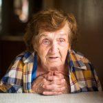 elderly woman gazing