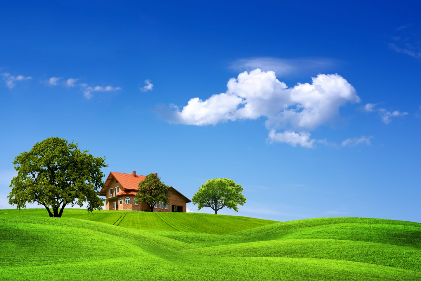 house with trees rolling green grass