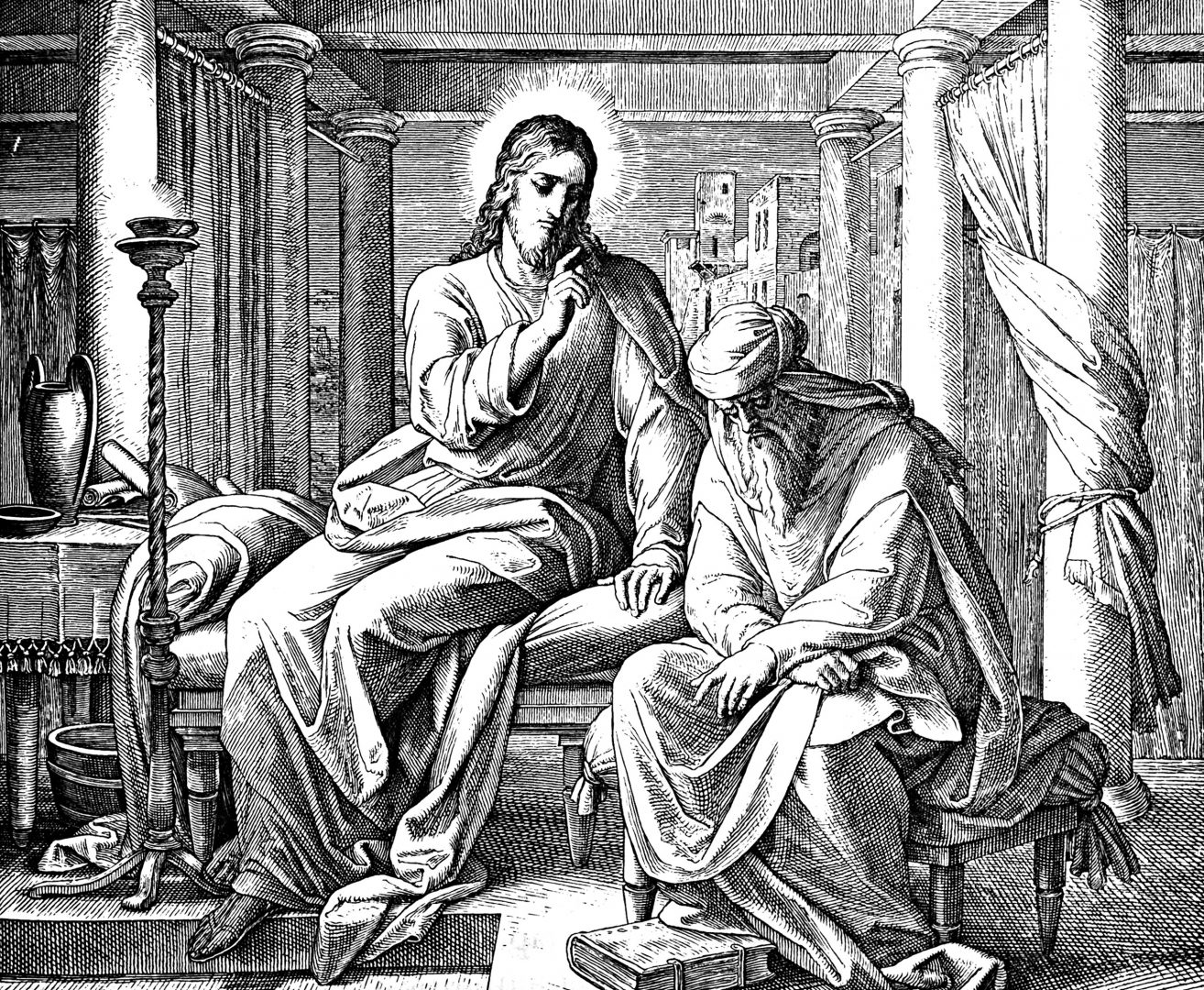 Jesus sitting with Nicodemus at night