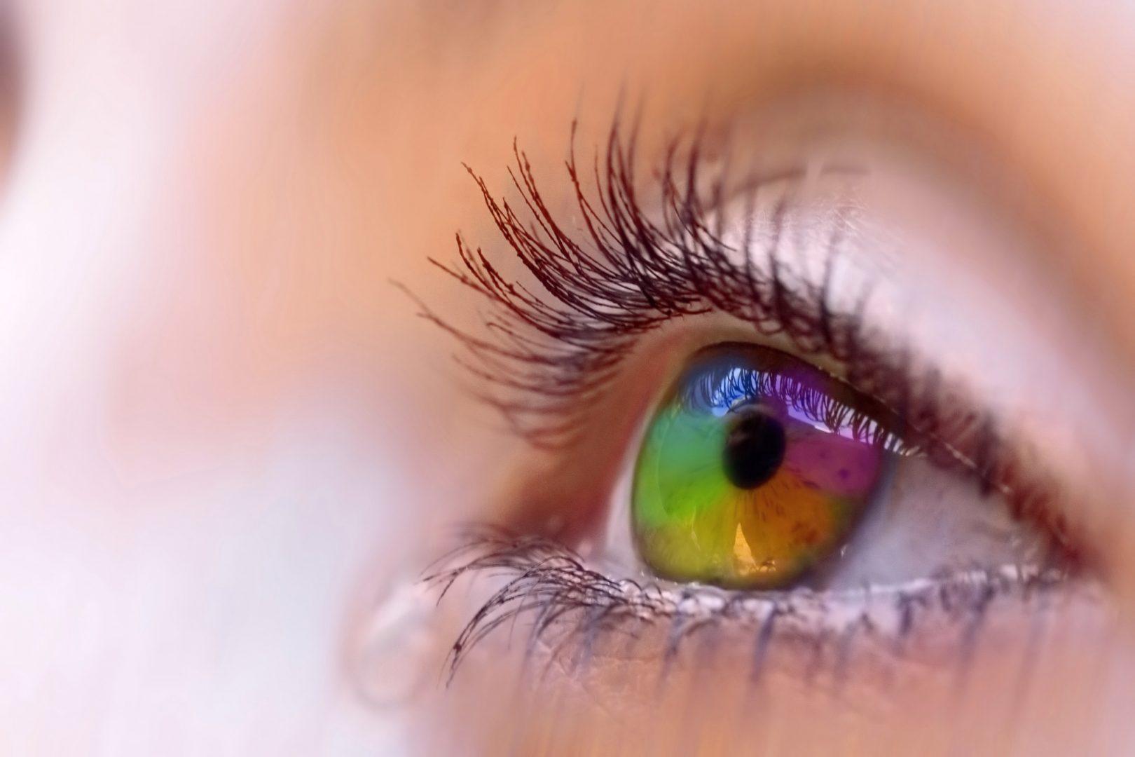 closeup of open eye staring