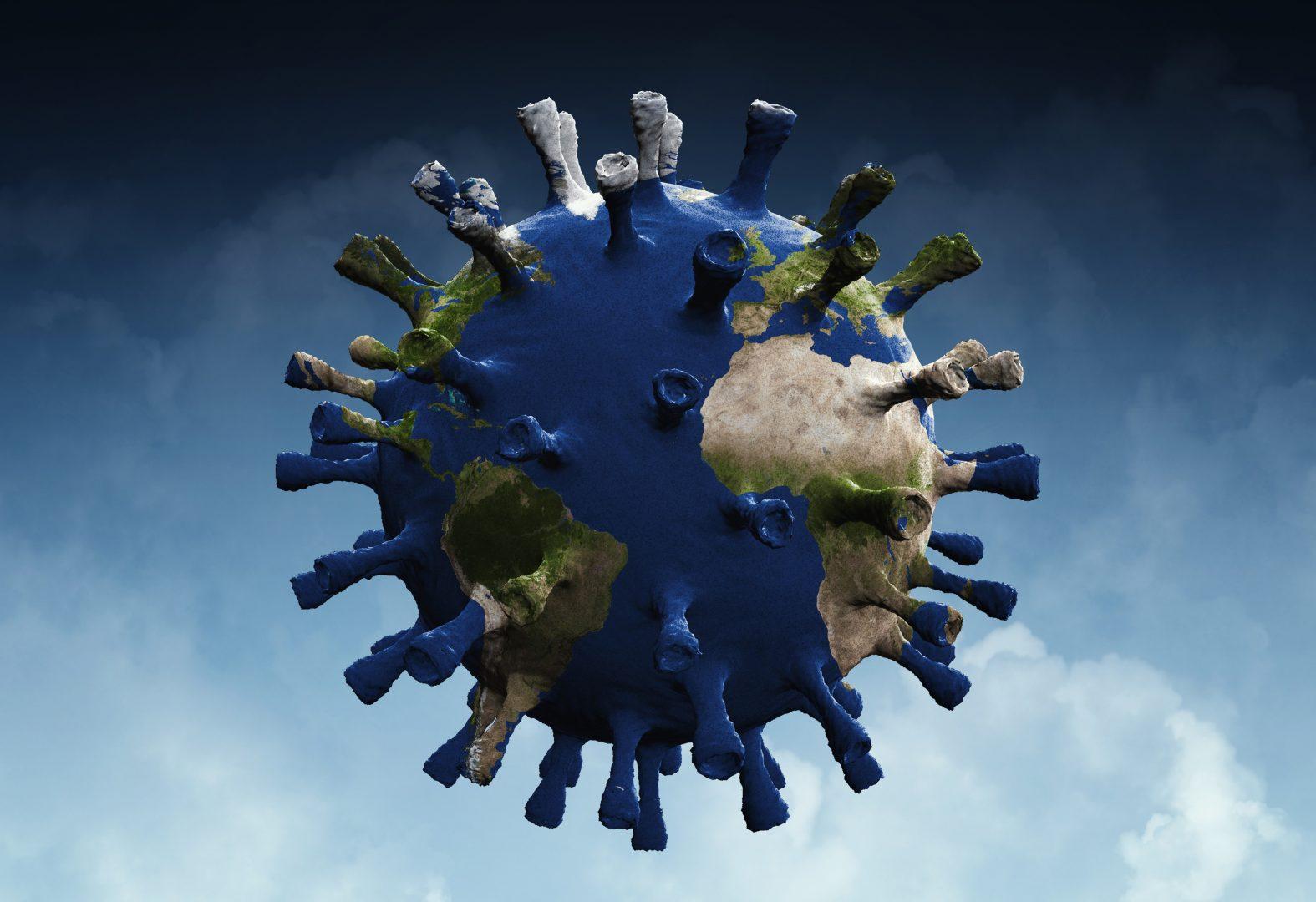 world globe in sky with coronavirus chains